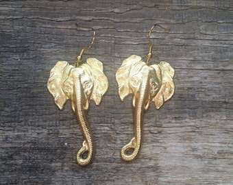 Handmade brass elephant Earrings // made in USA // gold plated ear wires