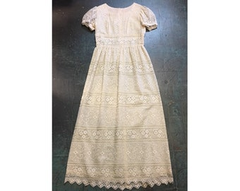 Vintage ivory floral sheer lace maxi dress // boho bohemian  wedding Halloween