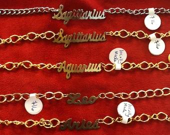 Zodiac sign astrology bracelet // gold silver cuff bracelet toggle