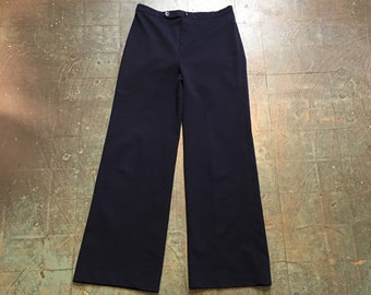 vintage 60s 70s dark navy blue high waisted slacks trousers // double knit polyester wide leg pants