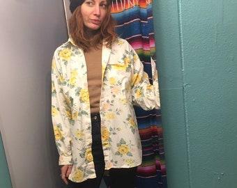 Vintage 80s 90s oversized floral oxford shirt blouse dress  // size medium M  // retro spring summer