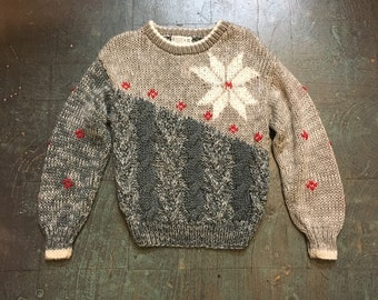 Vintage 80s 90s pullover chunky knit sweater jumper // unisex // retro ugly christmas winter holiday