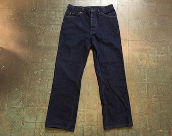 Vintage LEE button fly denim trousers // 32x30 // made in USA // high waisted loose fit workwear