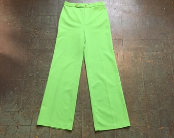 vintage 60s 70s day glo neon green high waisted slacks trousers // size 10 // jack winter double knit polyester wide leg pants