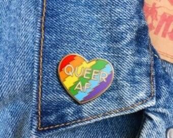 Queer AF Rainbow Enamel Lapel Pin