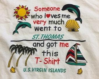 Vintage retro St. Thomas Virgin Islands beach souvenir tee //  short sleeve white t-shirt