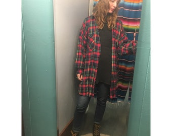 Vintage plaid flannel oversized Oxford button up // one size OSFM // unisex multicolored shirt
