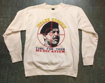 Vintage 90s Desert Storm INSANE HUSSEIN pullover sweatshirt // center star made in USA // Desrt Storm Gulf War // unisex retro long sleeve