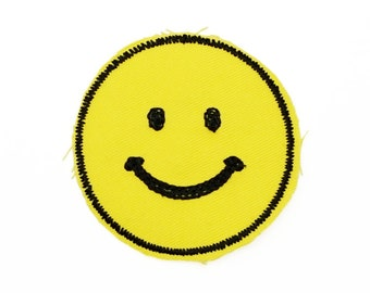 Smiley Face Stitched retro embroidered Patch by Lucky Horse Press // made in the USA // vintage style