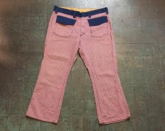 Vintage handmade 60s 70s houndstooth plaid checked pants // boho hippie retro unisex rocker // Red white blue wide leg slacks