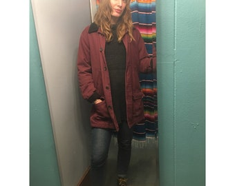 vintage 90s Lands End field jacket // women's size S small 6-8 // corduroy cotton // fall winter parka barn coat
