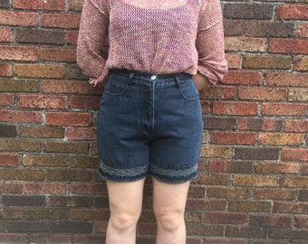 Vintage 80s 90s high waist denim and crochet lace shorts by Stephano International // size 12 // mom style soft grunge festival