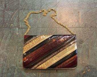 Vintage Striped colorblock snakeskin envelope purse cross body shoulder bag convertible clutch
