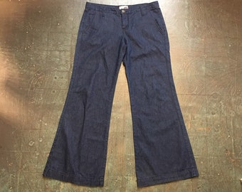 vintage 1990s 70s style sailor denim bells bell bottoms // size 31 // wide legged jeans // Made in USA // boho hippie cowgirl flower child