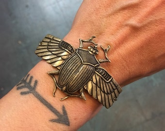 Scarab Cuff Bracelet // handmade in the USA // antiqued oxidized brass winged Egyptian beetle // gift idea