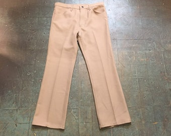 Vintage 70s WRANGLER polyester trousers // 36 x 30 // high waisted straight leg
