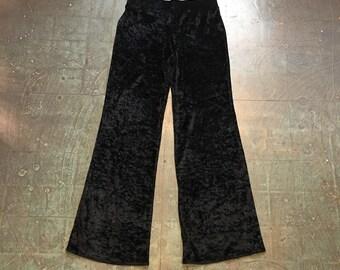 Vintage 90s black velvet wide leg pants // size medium // high waisted prep retro bell bottoms