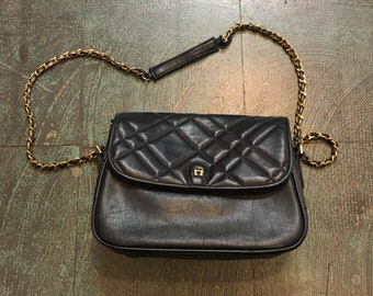 Vintage 80s 90s quilted etienne aigner shoulder bag purse with braided chain strap // classic prep retro grunge // fall back to school