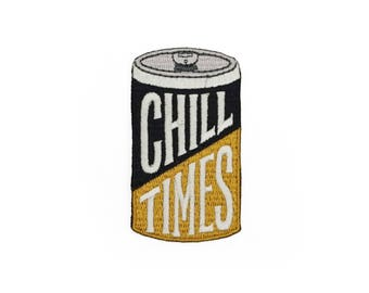 Chill Times Vintage Beer Can Retro Style Iron-on embroidered Patch by Lucky Horse Press // handmade in USA