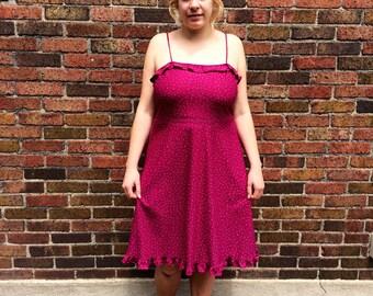 Vintage 70s polka dot ruffle knee length dress  // size 11 medium large