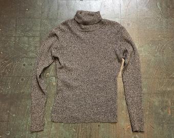 Vintage 90s black and white Galaxy knit pullover // size medium turtleneck // retro grunge prep boho beatnik