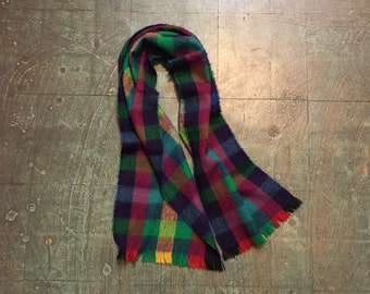 vintage vibrant Rainbow plaid checked scarf // one size // retro classic unisex