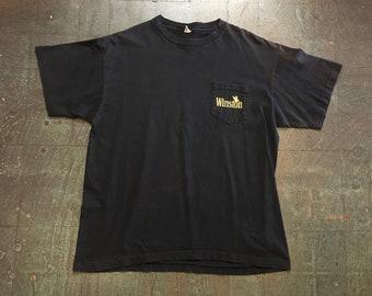 Vintage Winston cigarettes eagle black pocket tee // mens retro short sleeve black t-shirt // adult XL // hipster rocker grunge
