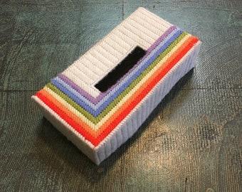 Vintage 1970s rainbow tissue box cover