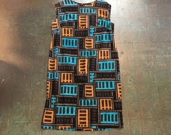 Vintage funky printed sleeveless smock dress // orange blue black brown white geometric print