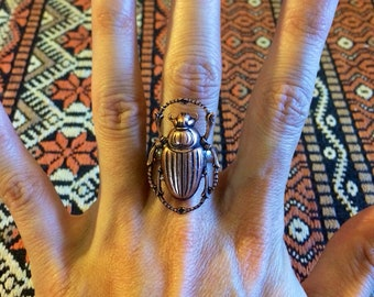 Handmade scarab beetle adjustable ring by Hello Stranger // vintage aged oxidized copper plated bug insect// unisex gift idea under 20