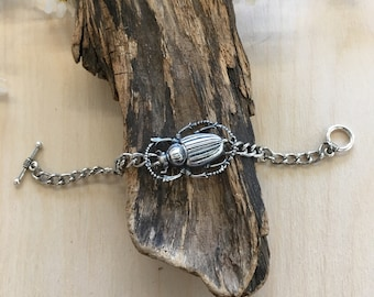 Handmade scarab bracelet by Hello Stranger // made in usa // beetle bug insect entomology holiday gift idea under 20