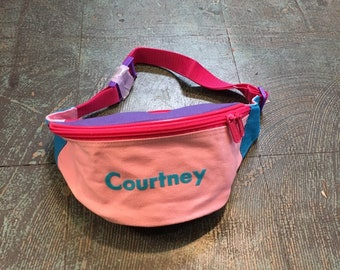 Vintage Courtney pastel colorblock  fanny pack // hip pouch zipper bag belt wallet purse// spring summer 2019 // festival beach retro