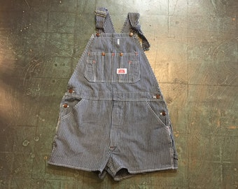 Vintage Roundhouse railroad stripe denim overalls shortalls // size 34x30 // carpenter // grunge retro suspender jumpsuit romper