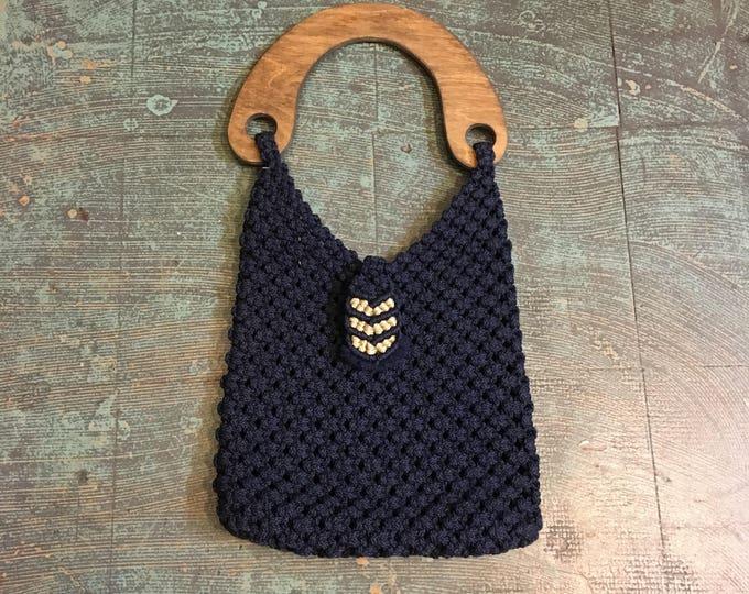 Featured listing image: Vintage handmade 60s 70s macrame crochet shoulder bag purse with wood handle