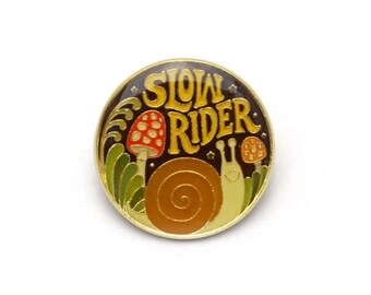 Slow Rider Retro Style Enamel pin by Lucky Horse Press // shrooms snail