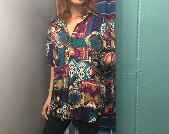 Vintage 80s 90s abstract watercolor southwestern tribal floral print blouse // Unisex grunge prep normcore new wave
