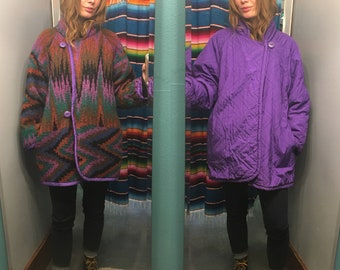 Vintage 80s 90s reversible Sweater jacket coat with pockets // International Scene // oversized SMALL // rainbow zig zag chevron