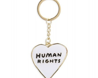 Human Rights Heart Keychain
