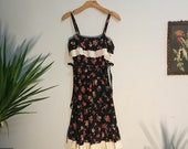 Vintage SEARS 70s 80s tiered floral prairie peasant dress boho hippie summer festival