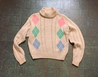 Vintage 90s liz Claiborne cable knit boxy pullover turtleneck sweater // retro grunge prep normcore // spring pastel diamond argyle
