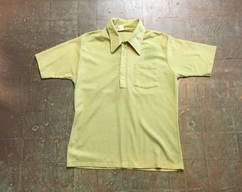 Vintage 70s mens Kirbury retro short sleeve polo // Light green // hipster rocker western grunge prep cowboy spring summer