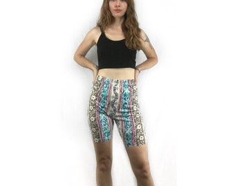 Vintage Funky Printed High Waisted Bike Shorts // size 14 // Cotton Lycra Elastic Waist