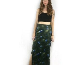 Vintage 90s floral print double side slit maxi skirt // size Small // boho gypsy soft grunge // fall back to school