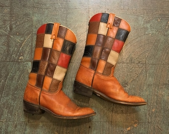 Vintage 70s Acme patchwork leather campus boots // made in USA // size 7 1/2 C // western boho hippie gypsy