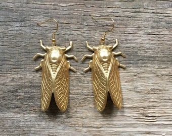 Handmade giant cicada earrings handmade by Hello Stranger // made in USA // gold plated ear wires // bug insect entomologist entomology