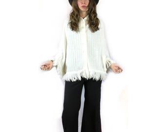 Vintage 60s 70s folk sweater knit fringe PONCHO cape Wrap by Bel Ami Originals // One Size