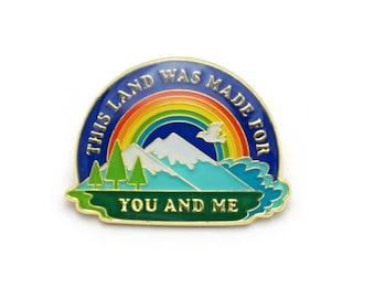 This land was made for you and me RetroStyle Enamel pin by Lucky Horse Press // mountains rainbow trees ocean