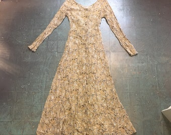 Vintage 90s floral print button front maxi dress // small S // prairie folk boho hippie grunge festival gypsy fall wedding