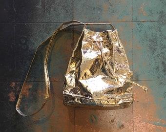 Vintage 70s 80s metallic gold lamé purse shoulder bag