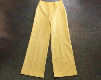 vintage 60s 70s pale lemon yellow high waisted slacks trousers // Junior House high waisted wide leg pants